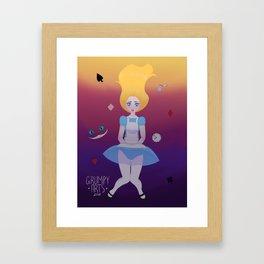 Alice down the rabbit hole Framed Art Print