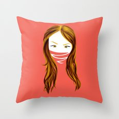 MUTE GIRL Throw Pillow