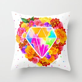 Flowered Diamond Throw Pillow