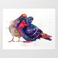 takmaj Art Prints featuring Pigeons by takmaj