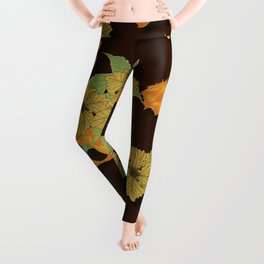 Night Time Goldfish Pond With Hibiscus Pattern Leggings