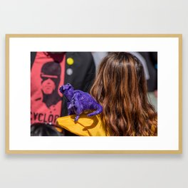 Kitty Pryde and Lockheed of the X-Men tries to discipline Quentin Framed Art Print