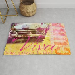 Viva Cuba retro car mixed media art Rug