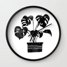 House plant linocut zen yoga black and white minimalist art prints for home Wall Clock