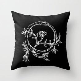 White Ouroborous  Throw Pillow