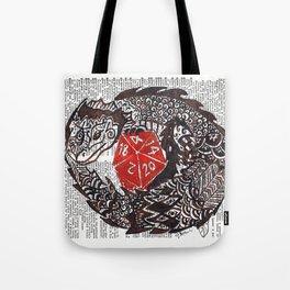 Here Be Dragons  (dragon and d20 dice on dictionary page) Tote Bag