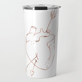 Cupid Heart in Pink Rose Gold Travel Mug