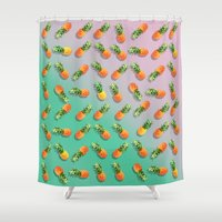 pineapple Shower Curtains featuring Pineapple by mark ashkenazi