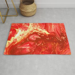 Fluid Nature - Fanning The Flames - Abstract Acrylic Artwork Rug