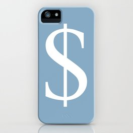 dollar sign on placid blue color background iPhone Case