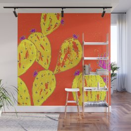 Orange cacti garden Wall Mural