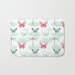Pink teal watercolor clouds dragonfly butterfly pattern Bath Mat