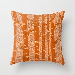 Birches (Orange) Throw Pillow