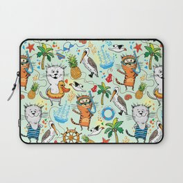 Summer sea picture with a cat and pelican Laptop Sleeve
