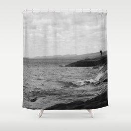 Foggy Harbor North Shore 9 BW Shower Curtain