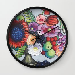 Red Sunflower Party Wall Clock