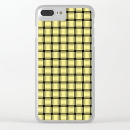 Small Khaki Yellow Weave Clear iPhone Case