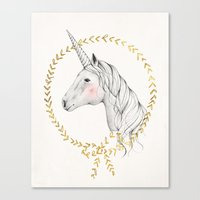 unicorn Canvas Prints featuring Unicorn by Kelli Murray