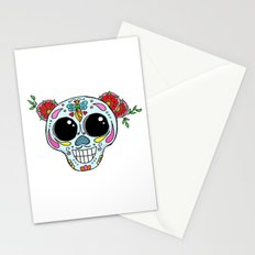 Sugar skull with flowers and bee Stationery Cards