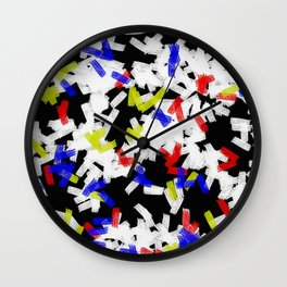 Primary Strokes - Abstract, primary colour & black and white raw paint brush strokes Wall Clock