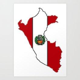 Peru map with Peruvian Flag Art Print