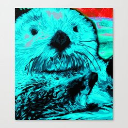 Sea Otter, mint green Canvas Print