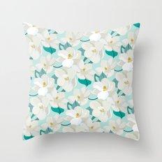 Magnolia Garden (mint) Throw Pillow