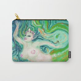 PAINTING Art Print by  Anna saucier goddess nude mermaid under water swimming , Carry-All Pouch