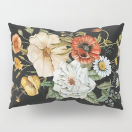 Wildflower Bouquet on Charcoal Pillow Sham