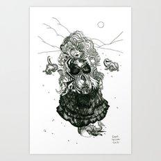 Trogette [Pen Drawing Fantasy Figure Illustration] Art Print