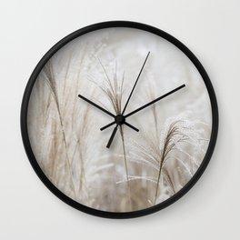 Light Neutral Soft Ornamental Grasses Wall Clock