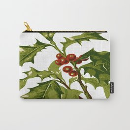 Holly Christmas Red Berry Carry-All Pouch