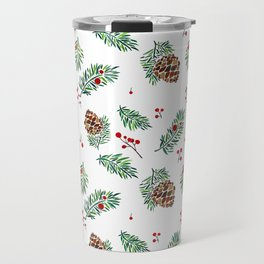 Christmas in the Woods - Watercolor berries and pinecones Travel Mug