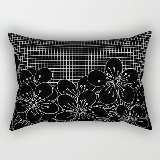 Cherry Blossom Grid Black Rectangular Pillow