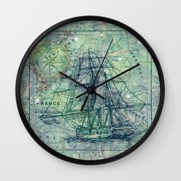 Vintage Clipper Ship Wall Clock