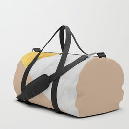Carrara Marble with Gold and Pantone Hazelnut Color Duffle Bag