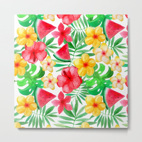 Happy Summer Life- Aloha Flowers and Melon - Pattern on #Society6 Metal Print