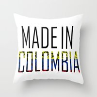 colombia Throw Pillows featuring Made In Colombia by VirgoSpice