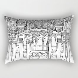 Alhambra palace, Granada, Andalucia - Spain-Black & White Rectangular Pillow
