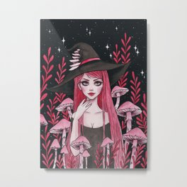 Poisonous Mushroom Witch Metal Print
