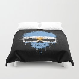Flag of Argentina on a Chaotic Splatter Skull Duvet Cover