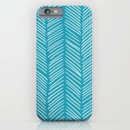 Coastal Blue Herringbone iPhone Case