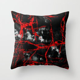 Horror Night Goth - Black and White,Red Throw Pillow