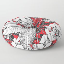 Hummingbird and fuchsia, red background Floor Pillow