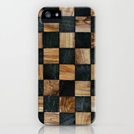 Chequered Past, Carved Wood Chess Board iPhone Case