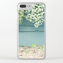 Shabby Chic Art, French Courtyard with mint wood wall, autumn leafs and tiny flowers Clear iPhone Case