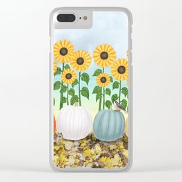 chipmunk, red breasted nuthatches, heirloom pumpkins, & sunflowers Clear iPhone Case