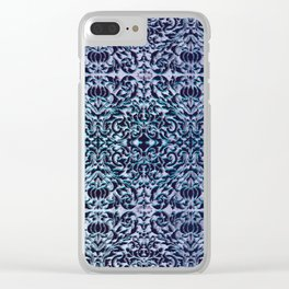 big scroll with texture in blues Clear iPhone Case