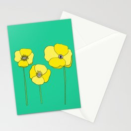 Bright Yellow and Mint Green Poppies Growing and Thriving Stationery Cards