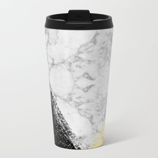 Marble with Black & Gold - gold foil, gold, marble, black and white, trendy, luxe, gold phone Metal Travel Mug